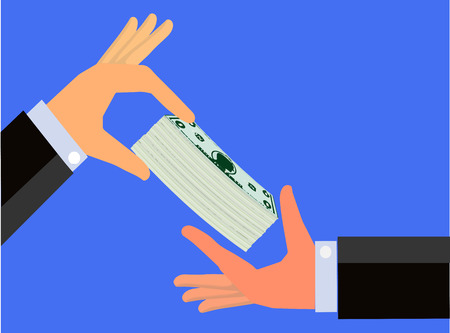 lend a hand: Hand handing a bundle of cash to the hand of another person Stock Photo