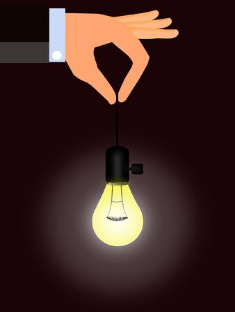 Illustration of a hand holding a light bulb suspended on wire