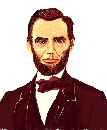 An illustration of American Civil War President Abraham Lincoln. Rendered in drawing tablet.