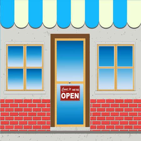 come in: Shop Facade With Come In Were Open Door Sign (Vector)