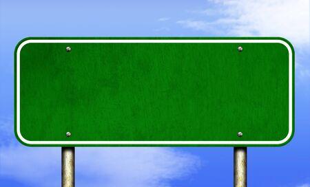 Blank Green Horizontal Highway Sign