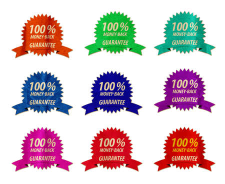 moneyback: Wrinkled One Hundred Money-Back Guarantee Badges Seals Stock Photo