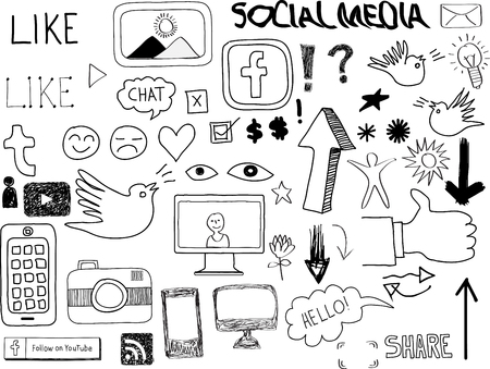 Hand-drawn Social Media Set Elements Vector
