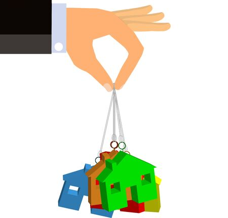 Hand dangling houses suspended on strings (Vector)