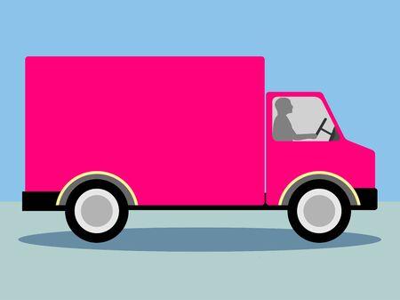 Pink Truck Lorry Vector for Copyspace Stok Fotoğraf