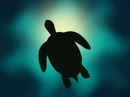 seawater: Swimming turtle partially blocking the view of the sun diffused by the seawater and ocean waves at the oceans surface
