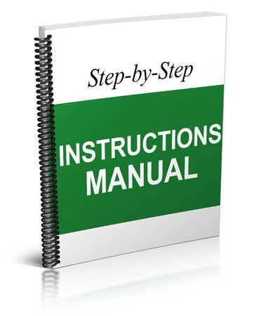 instrucciones: Manual de instrucciones (aislado en blanco)