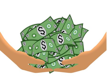 greenbacks: Hands lifting a heap of cash (Isolated on white background)