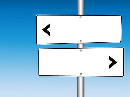 pointed arrows: 2 Panel Blank White Directional Road Signs