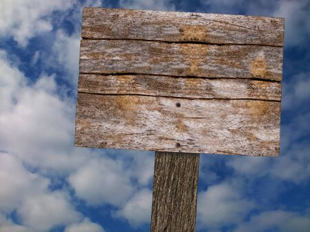 rickety: Old Wood Blank Signboard With Bright Cloudy Sky Background Stock Photo