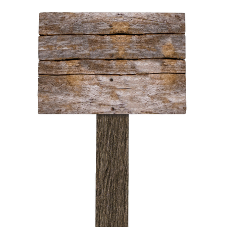 signboard: Blank Wooden Signboard With copy space. Image  on white background.