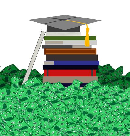 high cost: A conceptual illustration of high cost of college education showing piles of money required to finish or graduate