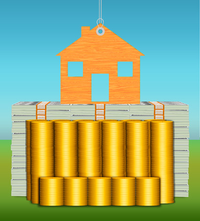 hang tag: house on hang tag resting on stacks of cash and gold