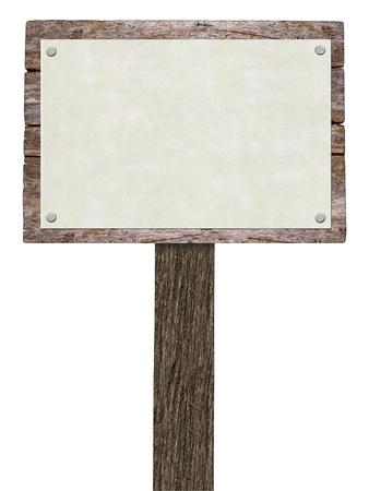 harsh: Blank Wooden Signboard With copy space. Image  on white background.