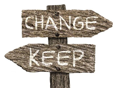 Keep or Change Old Wooden Signpost (on white background)