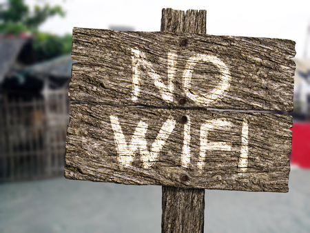 No Wifi  Rustic Wood Sign on Beach