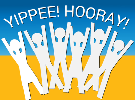 Hooray! Yippee! (Vector) An illustration of human figures in a celebratory mood with the words Hooray! Yippee! above them Vetores