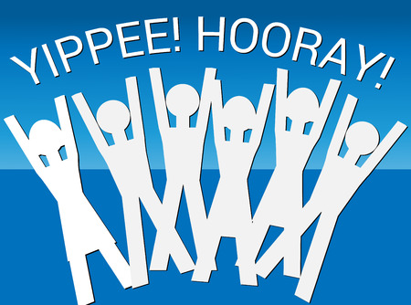merry mood: Hooray! Yippee! (Vector) An illustration of human figures in a celebratory mood with the words Hooray! Yippee! above them Illustration