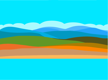 Vector Abstract Landscape showing land, Sky and Sea. Suitable as background.