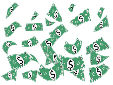 Falling dollars, money, banknotes or cash illustration isolated on white background