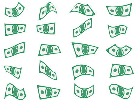 waft: Falling paper money, bills or currency set shapes
