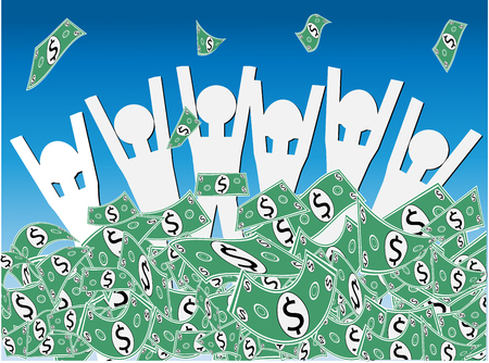 Cash Windfall - Group of happy people waist deep in pile of dollars or money celebrating the wndfall