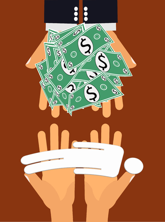 hoodlum: Contract or Proxy Killer - Hands handing large amount of money to another pair of hands giving a dead person in exchange Illustration