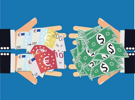 high stakes: Euro Dollar Currency Exchange. Buying and selling currencies - hands handing euro banknotes to another pair of hands handing back dollars in exchange. Currency Trading.