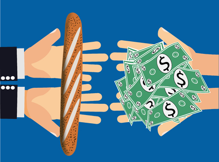 Price gouging, unfair exchange or inflation - Hands handing dollar money or cash to another pair of hands holding a piece of bread or a low value item