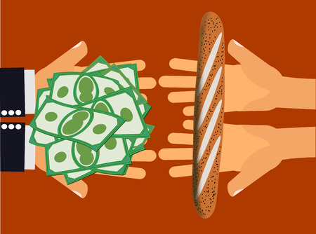 Price gouging, unfair exchange or inflation - Hands handing money or cash to another pair of hands holding a piece of bread or a low value item Illustration