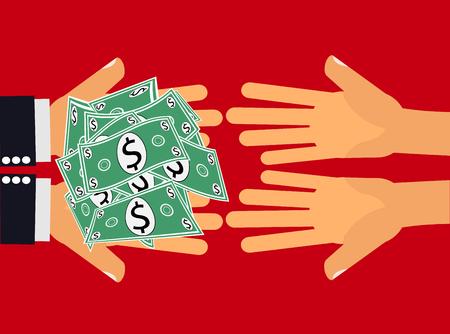 Mains distribuant dollars, de l'argent ou de l'argent à une autre paire de mains