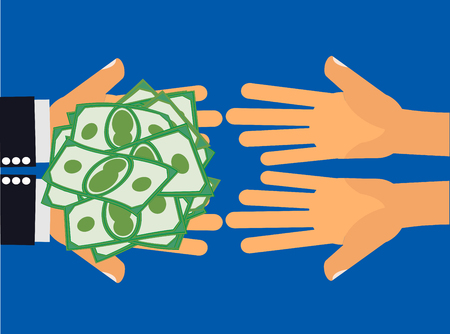 poverty: Give Money - Hands handing money or cash to another pair of hands