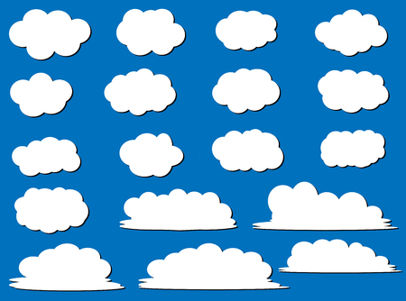 eighteen: Vector Clouds Shapes - A collection of eighteen flat clouds shapes for your design projects. Illustration