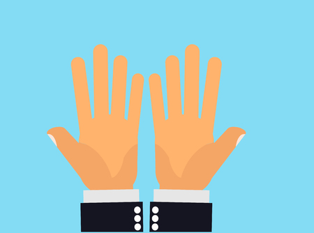 none: Empty-handed. Hands showing both palms up as in empty-handed, none, or asking for something Illustration