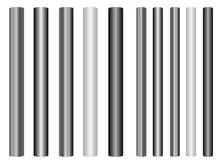 Scaleable shiny steel poles collection in different styles for your projects Çizim