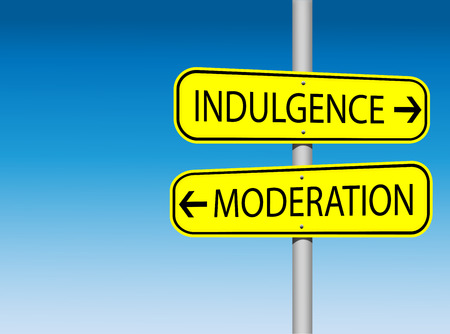 self indulgence: Indulgence versus moderation road sign with opyspace