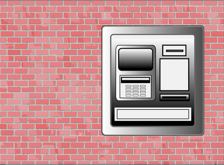 ATM Machine Sidewalk ATM Machine on Brick Wall - Vector with Copyspace Çizim