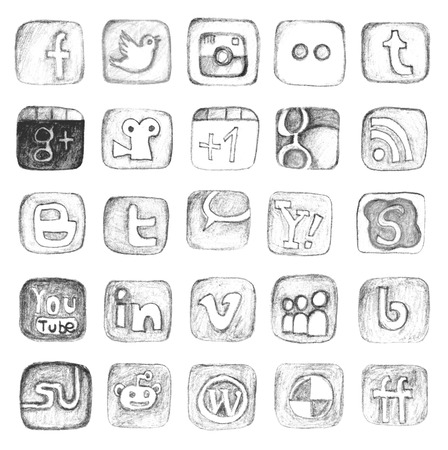 A set of unique social media icons Stok Fotoğraf