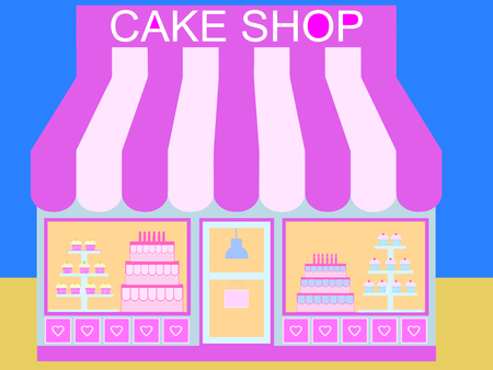 pink cake: Pink Cake Shop with Background (Vector)