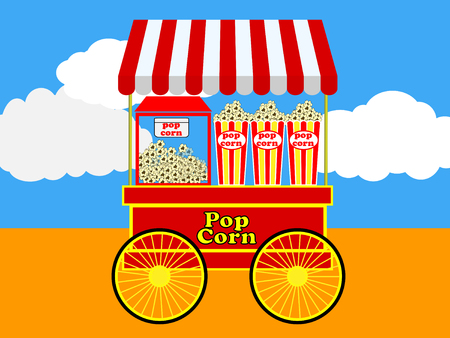 fare: Pop corn cart red and white (Vector)