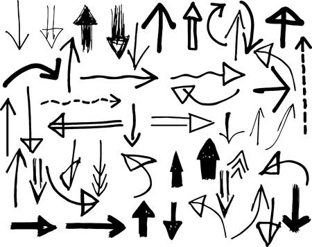 Hand-drawn arrow doodles - vector set collection.