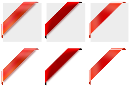 saturation: Blank red corner ribbons set. Set of 3 different blank red corner ribbons. Very easy to change colors and effects using hue and saturation in Photoshop.