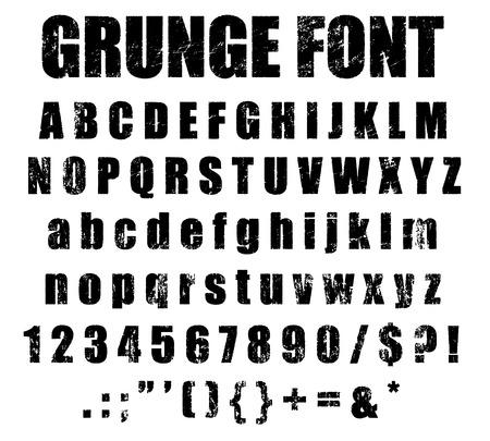 Grunge Alphabet and Numeral Font Set Stok Fotoğraf