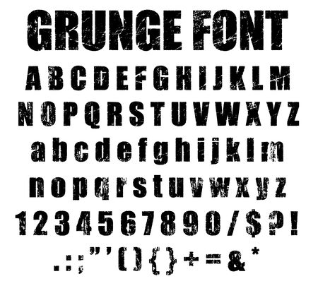 rough: Grunge Alphabet and Numeral Font Set Stock Photo