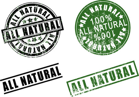 Set of 100 one hundred % percent All-Natural rubber stamps. Isolated on white background.
