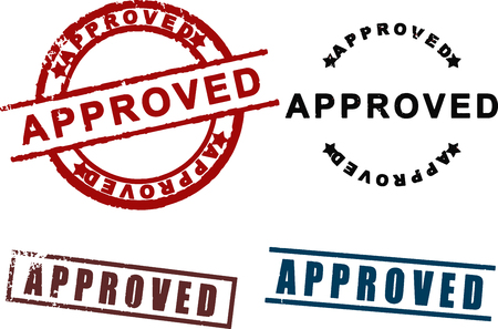 approved sign: Approved sign rubber stamp set vector