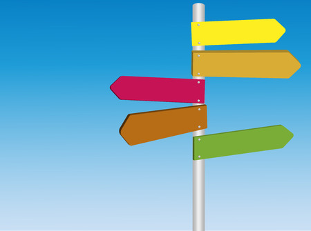 multidirectional: Blank Colored multi directional road stret signs copyspace vector Illustration