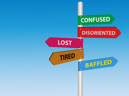 baffled: Lost, tired, confused, disoriented, baffled directional road sign. Stress signs Illustration