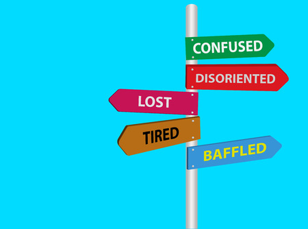 multidirectional: Lost, tired, confused, disoriented, baffled directional road sign. Stress signs Illustration