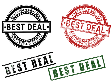 Best Deal - A set of Best deal grunge rubber stamps signs. Image isolated on white background.